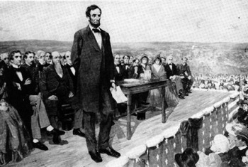 President Abraham Lincon gives his Gettysburg Address.